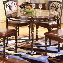 Metal Kitchen Table Sets With Pantry Cabinet Burril Brown Faux Marble Top Dining Set Shop For