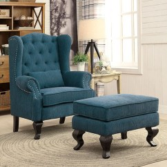 Dark Teal Accent Chair Fisher Price Rainforest High Recall Willow Traditional Fabric And Ottoman Shop