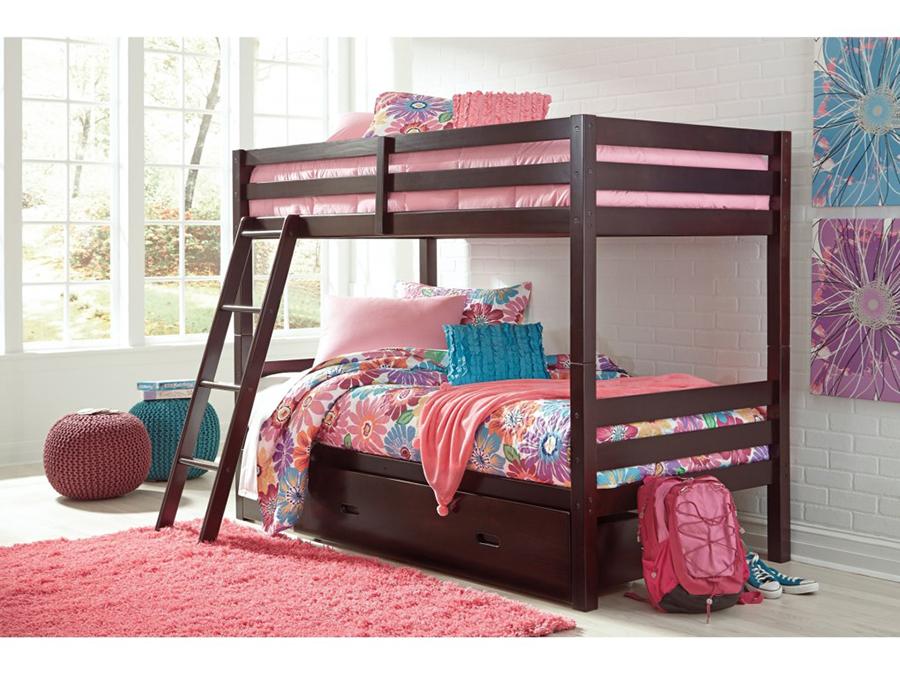 Halanton Dark Brown Twin Twin Bunk Bed With Ladder Storage