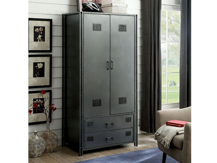 Ziva Industrial Metal Armoire  Shop for Affordable Home