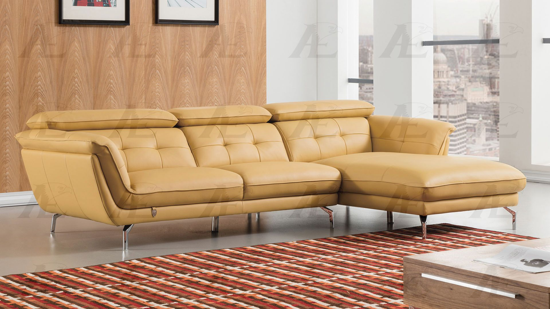 leather sectional sofa sacramento bed chair modern 2pcs yellow match left chaise ...