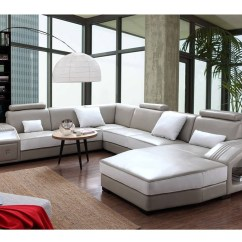 White Leather Sectional Sofa With Ottoman Ikea Kivik 3 Seat Bed Cover Light Grey Shop For