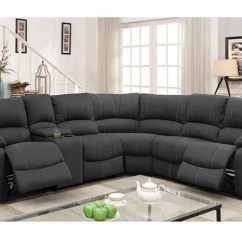 Justin Ii Fabric Reclining Sectional Sofa Black Craigslist Monique W 2 Recliners Drop Down Tables Console