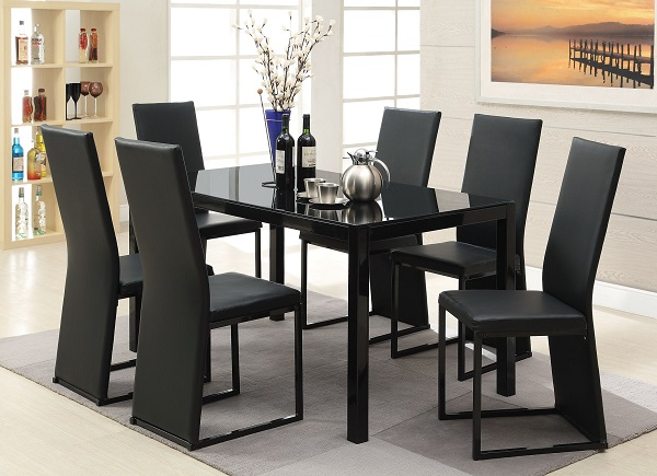 black dining table and chairs bouncy chair for infants riggan glass set shop affordable home