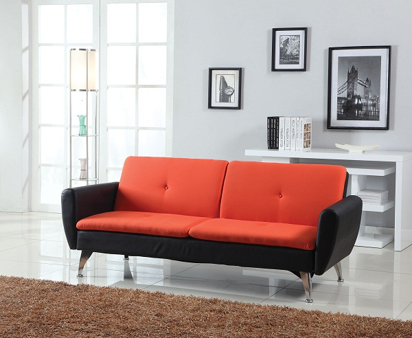 orange and black sofa bed cottage style slipcovers kimber linen pu futon sleeper shop for