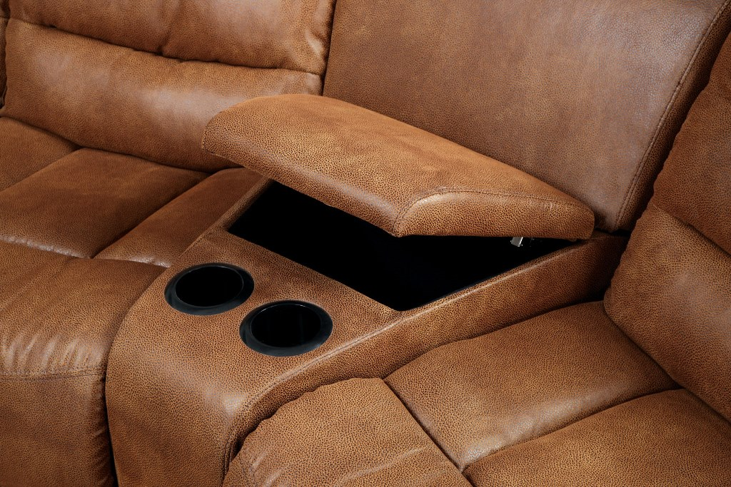 justin ii fabric reclining sectional sofa cheap corner sofas beds manchester brown leather like 2 recliners