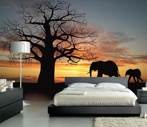 Vlies fotobehang Silhouetten Afrika  Landschappen behang