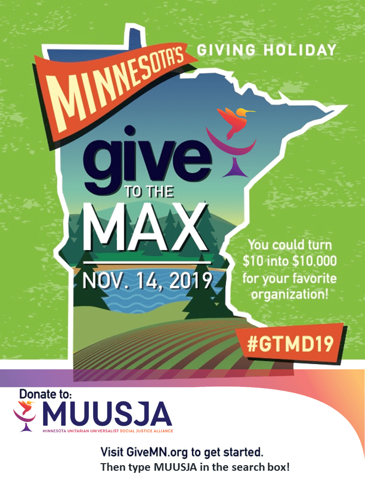 sign for Give to the Max Day with MUUSJA donation link at muusja.org/donate