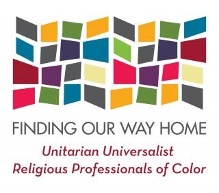 Multicolored blocks grouped to form a quilt-like rectangle. Finding Our Way Home: Unitarian Universalist Religious Professionals of Color logo.