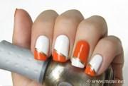 orange & white nails