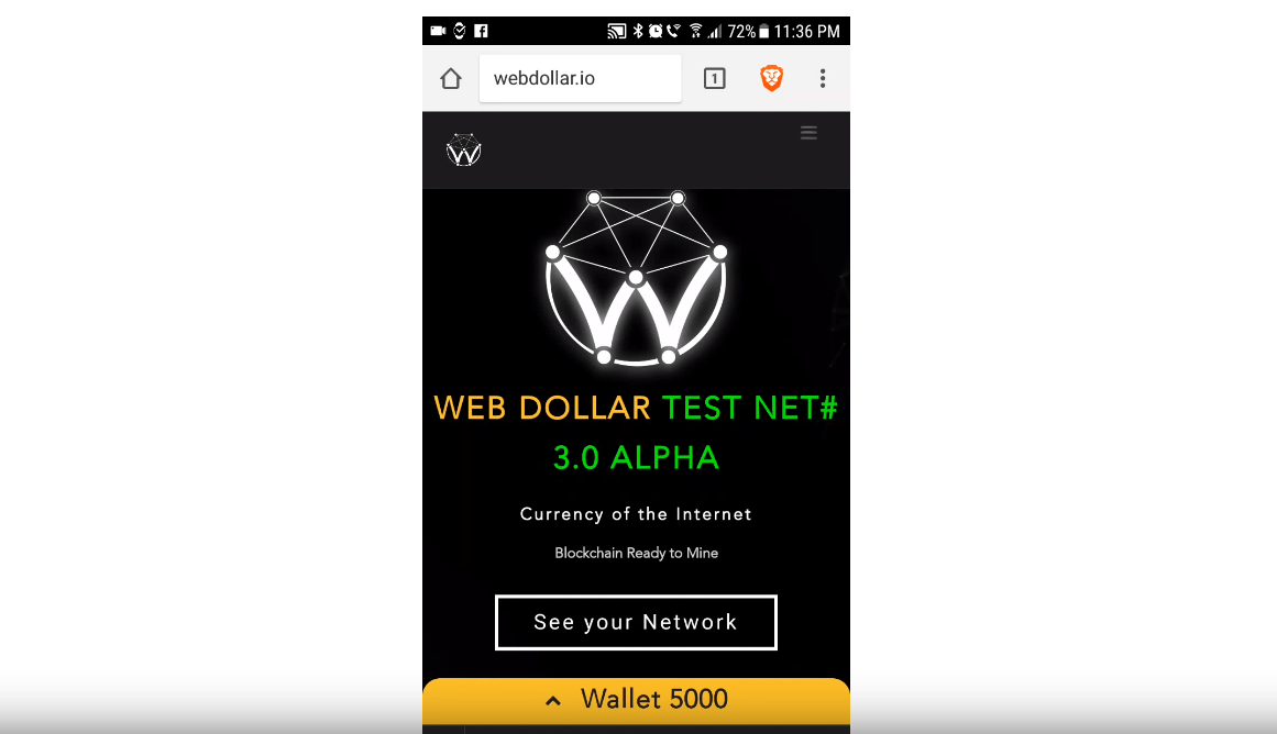 muxe tv webdollar TestNet#3 Alpha on mobile Brave browser
