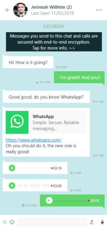 Aplicación Universal ©Windows Platform de WhatsApp