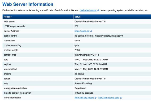 Ficha del servidor web del Servicio Público de Empleo Estatal