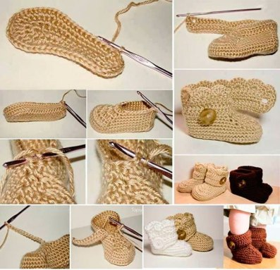 Manualidades para bebés botitas de crochet