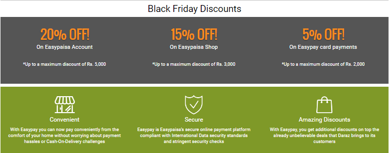 Daraz.pk Black Friday Discounts with EasyPaisa
