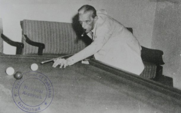 Quaid e Azam Playing Snooker Pic