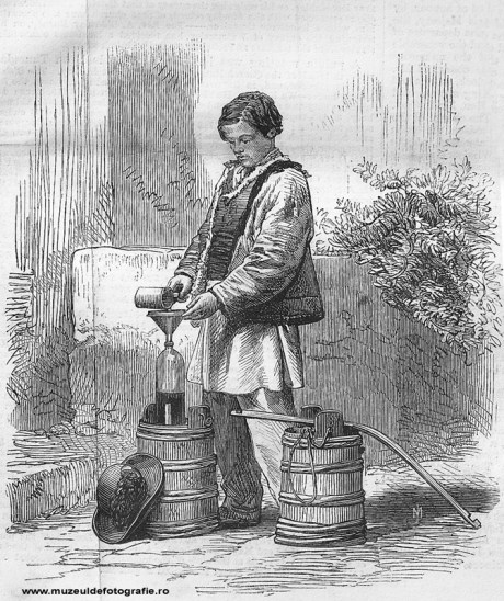 Vinegar Seller - gravura realizata de Dr. Mawer dupa o fotografie de Szathmari, publicata la 01 Aprilie 1865 in The Illustrated London News, pag. 300-301