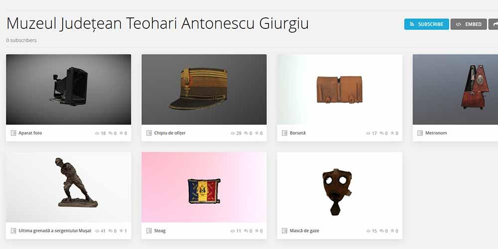 CENTENAR. PERSPECTIVE 3D.     Digitizarea 3D a obiectelor de patrimoniu din expoziția dedicată Primului Război Mondial și Marii Uniri