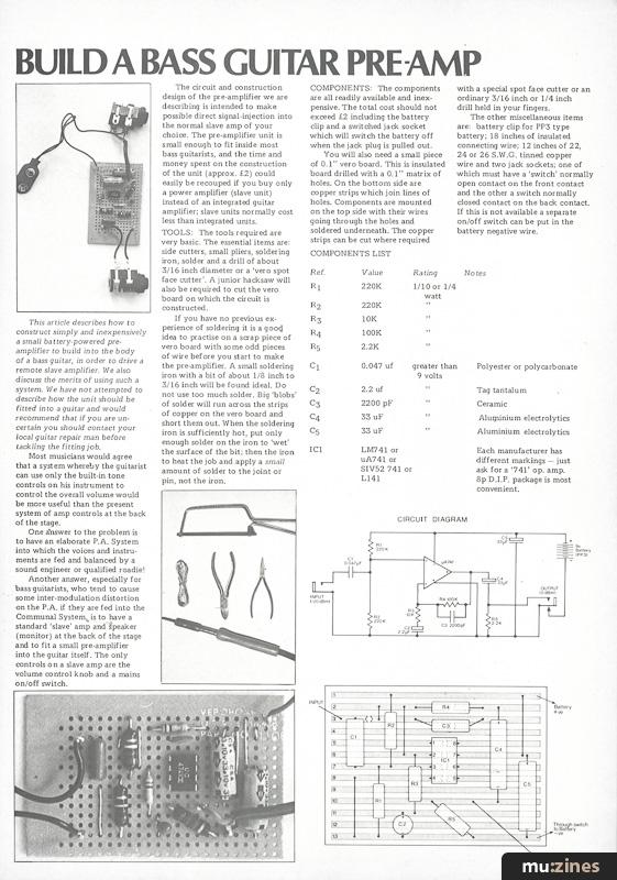 Build A Bass Guitar Pre-Amp (IM Jun 75)