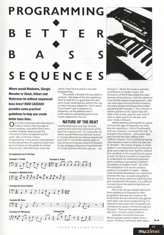 Programming Bass Sequences (SOS Apr 88)