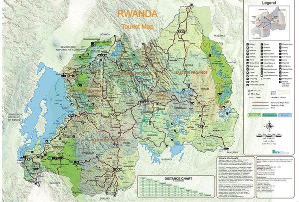 Rwanda tourist map. Rwanda Development Board