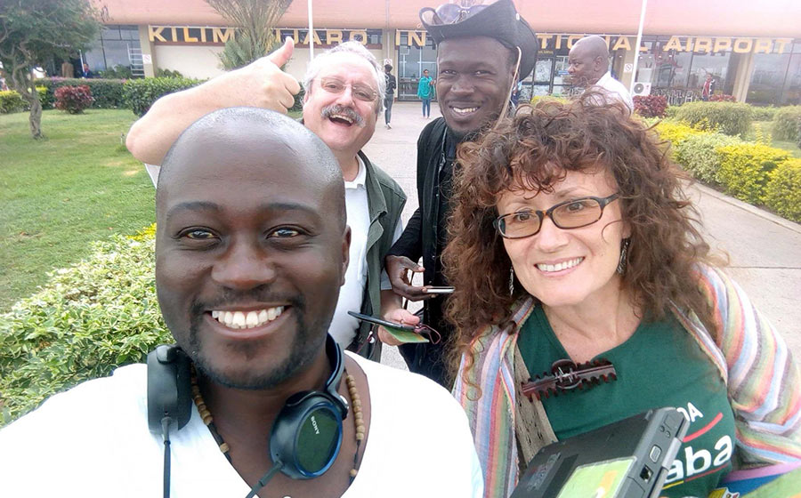 Charlotte Beauvoisin, Solomon Oleny, Wolfgang Thome, Edgar Batte. Kilimanjaro Airport