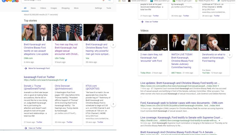 Google search of results on Ford accusation of Judge Kavanaugh