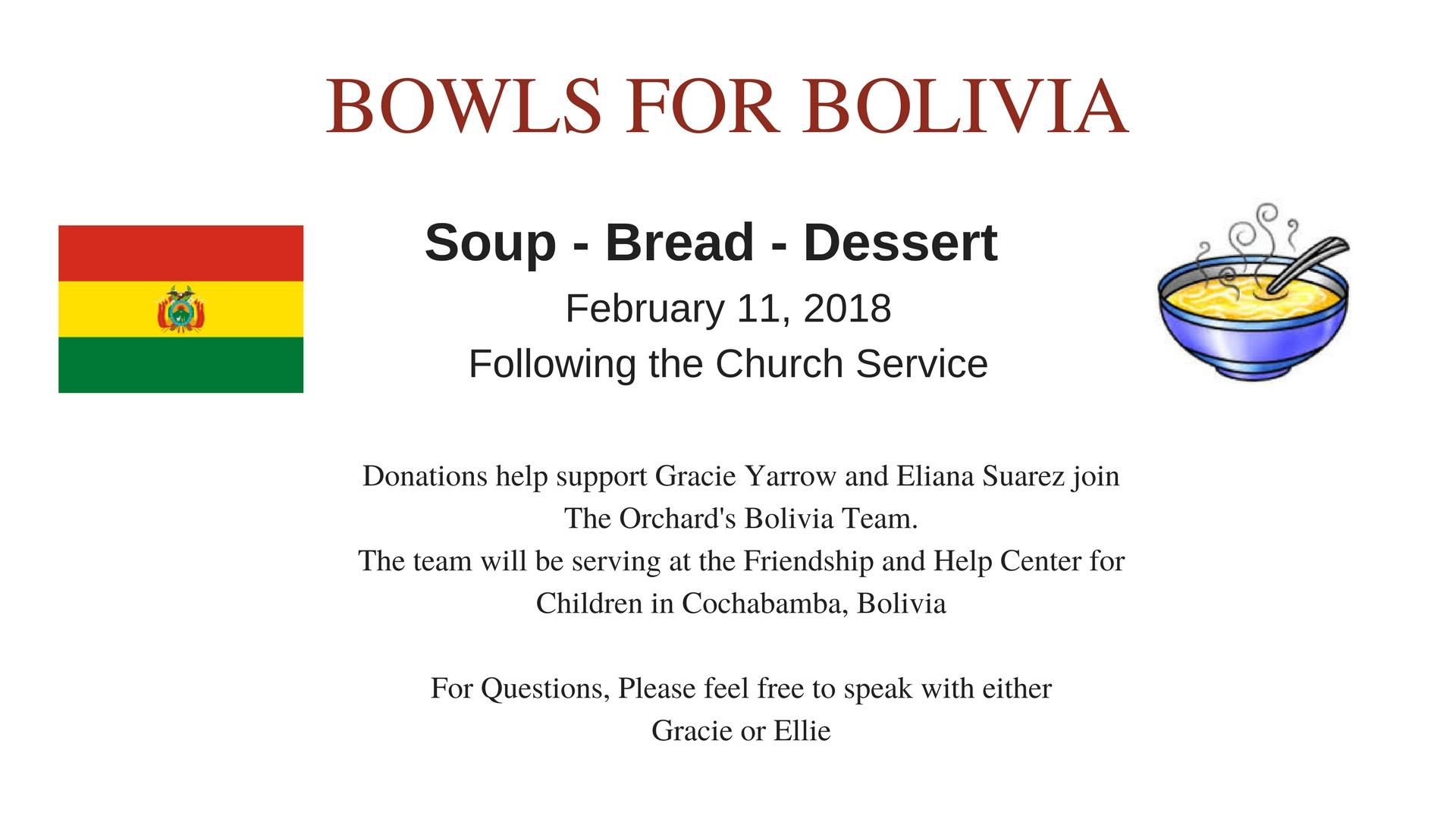 BOWLS FOR BOLIVIA