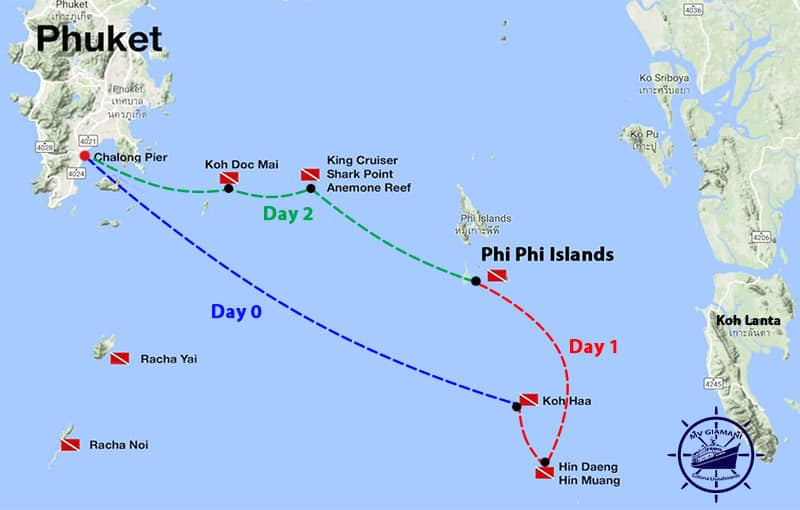 MV Giamani Thailand Liveaboard Itinerary Map - Southern Route