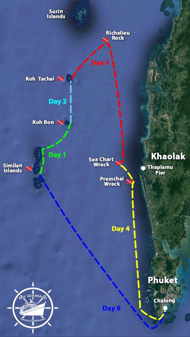MV Giamani Similan Islands Diving Itinerary Map