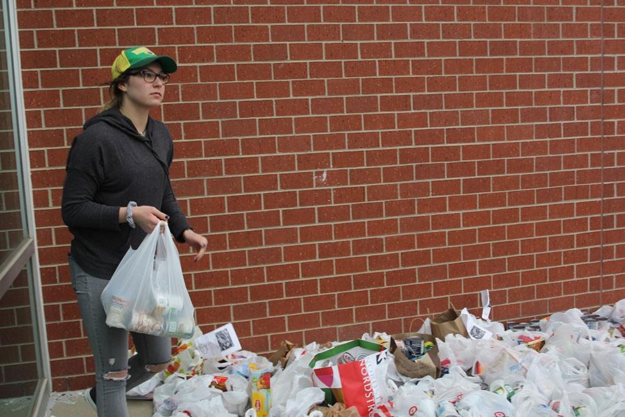 Organizing+donated+food%2C+senior+Emma+Mantel+participates+in+the+NHS+food+drive+on+Sunday%2C+Mar.+5.%0A