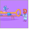 Illustration of a mad scientist forging a key in a lab.