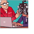 Illustration of a Yoast SEO technician adjusting the optics on a vision testing device being worn by a businessman utilizing a laptop.
