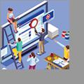 Illustration of several digital marketing professionals working together on a website.