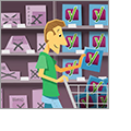 Illustration of a man shopping for brands as if he were at a grocery store.