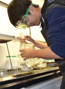 In the lab: Students in the new AP Chemistry class learn lab science the Wright way