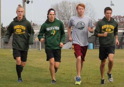 Plasencia runs with fellow team members Harrison Hirsch, 12, Grant Delaune, 12, and Tim Pease, 11 (left to right)