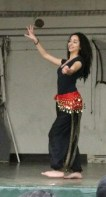 Marian Hitti, 11, performs a Middle Eastern belly dance