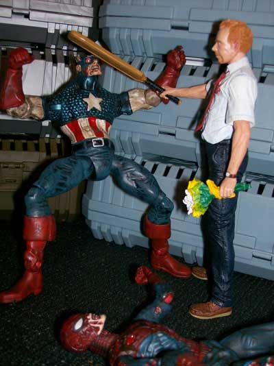 Marvel Zombie Spiderman and Captain America action figure