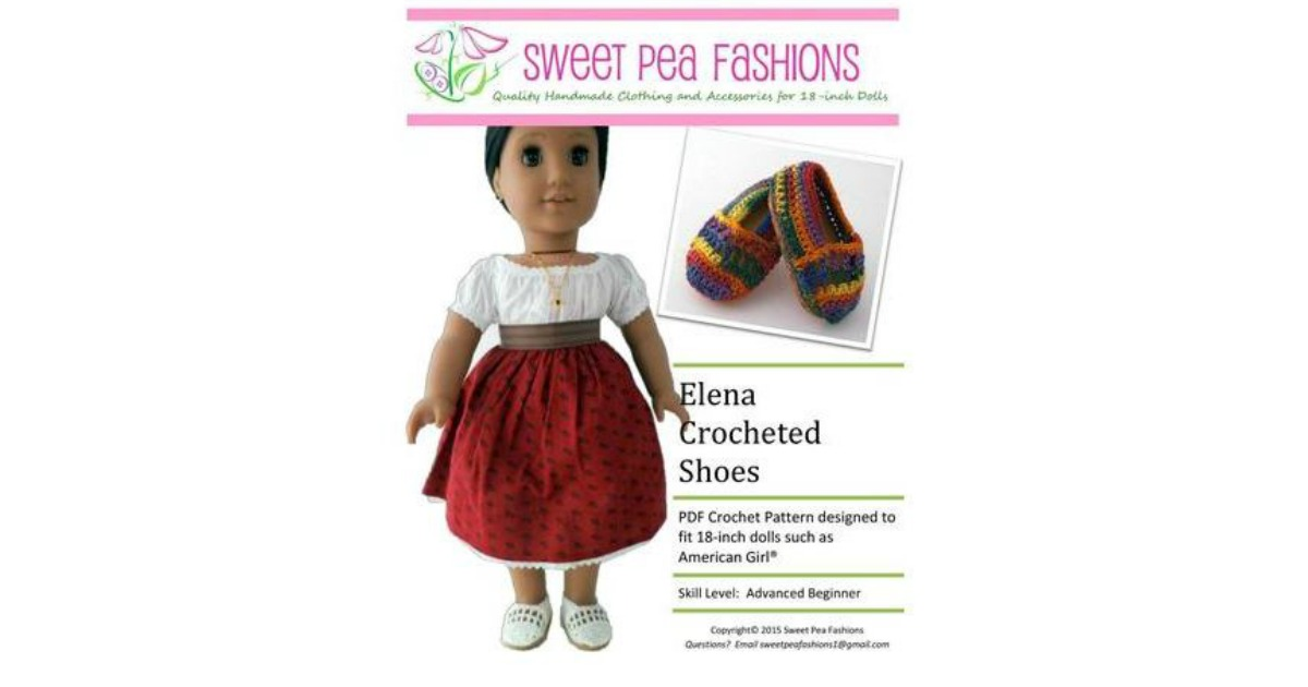 Free Elena Crocheted Shoes 18 Doll Crochet Pattern Today Only 9