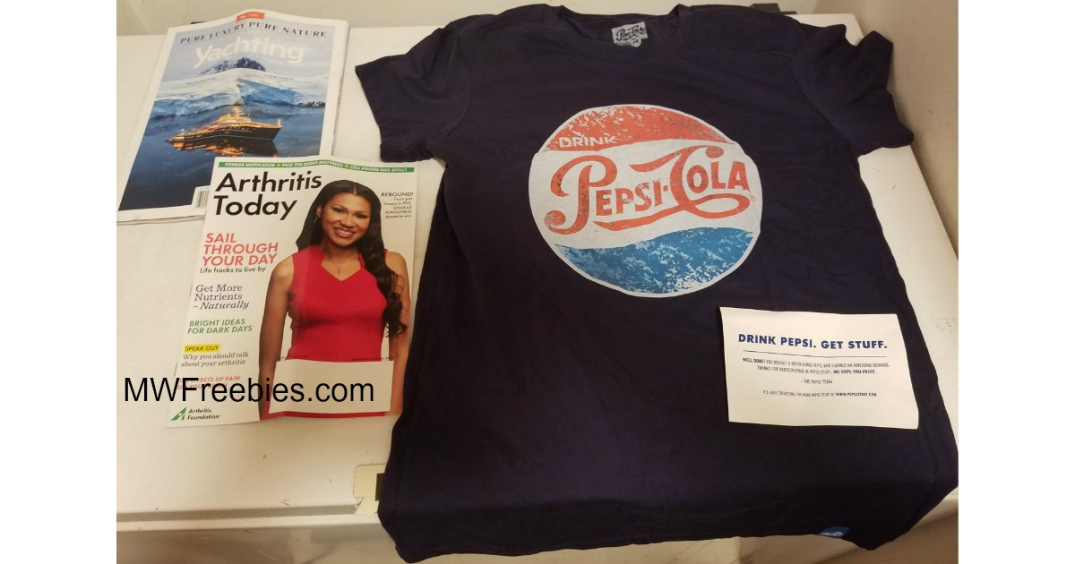I received A T Shirt From Pepsi Stuff & 2 Magazines FREE in