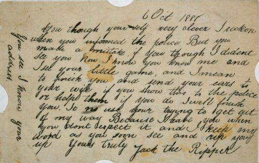 """""""Jack the Ripper: letter allegedly sent by Jack the Ripper"""". {via}"""