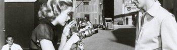 "eternally-grace: Grace and James Stewart behind the scenes of ""Rear Window"" - 1954."