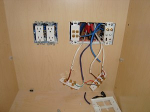 Home Theater Wall Plate Install Inside Cabi in San Jose