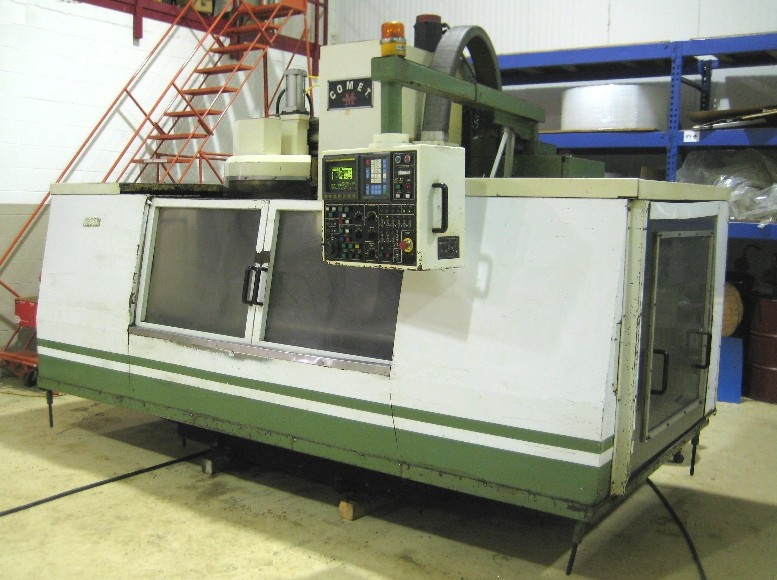CNC VERTICAL MACHINING CENTERS: MIGHTY COMET VMC-1250 P/G 50 TAPER CNC VERTICAL MILL. 58 x 28.5 x 24.5. 4000 RPM. 20 ATC. GEARBOX. BOX WAY. FANUC