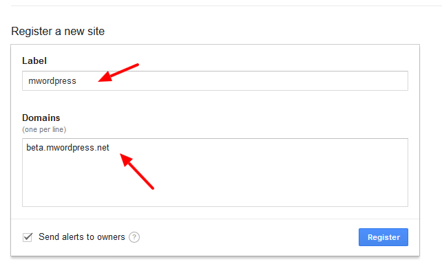 google reCAPTCHA register site