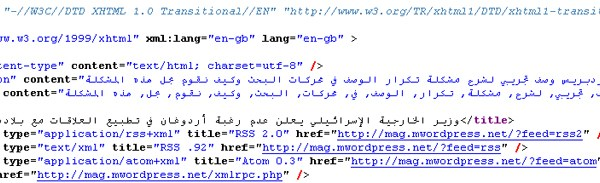page source code meta seo  - مجلة ووردبريس