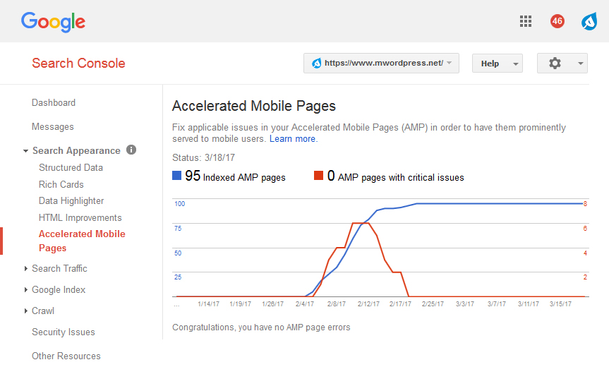 Search Console Accelerated Mobile Pages - مجلة ووردبريس