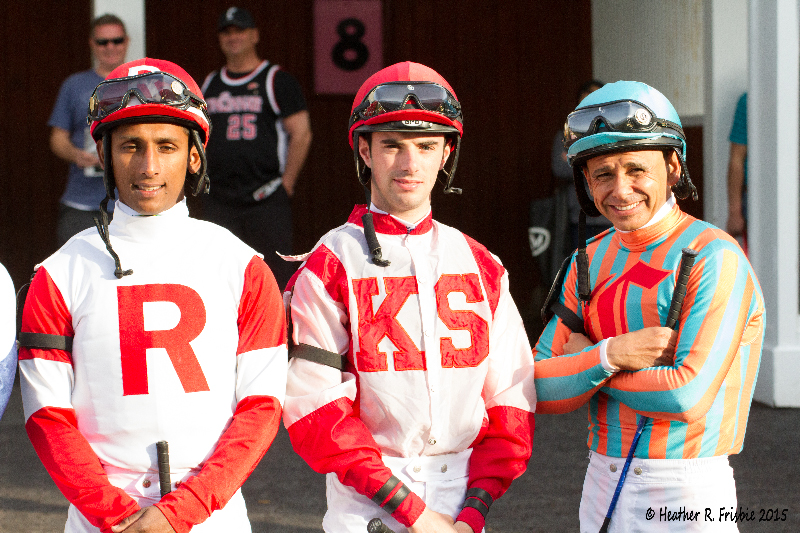 Rajiv Maragh, Florent Geroux and Mike Smith prior to the Spiral.