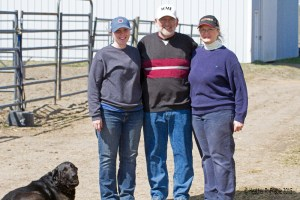 Michelle, Dean, and Teresa Benson of Wood-Mere Farm (and Shelby!)
